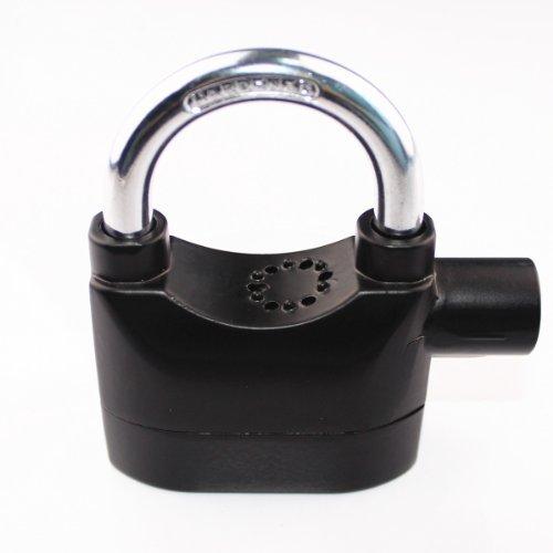 QQ-Tech Creative Universal Alarm Padlock for Bicycle Motorcycle Door Gate Bike Shed Bolt Chain Lock 110db Siren Heavy Duty Security Alarm Lock (17mm Shackle, Black) (Metal Bike Chain Watch)