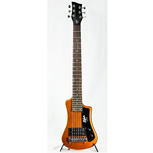 Hofner Shorty Guitar - Metallic Orange Limited Edition Travel Electric Guitar w/Full Sized Neck and Gigbag