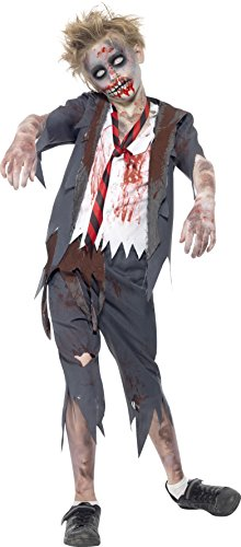 Smiffys Children's Zombie School Boy Costume, Trousers, Jacket, Mock Shirt and Tie, Serious Fun, Ages 10-12, Size: Large, -