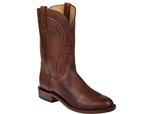 NAVARRO Mens Cognac Burnished Ranch Hand Calfskin Boots