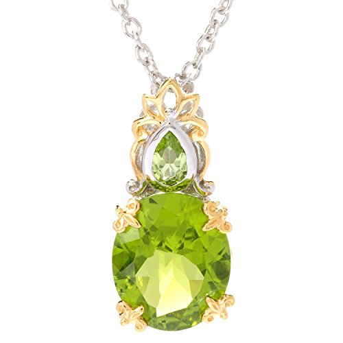 - Michael Valitutti Palladium Silver Oval & Pear Shaped Peridot Pendant