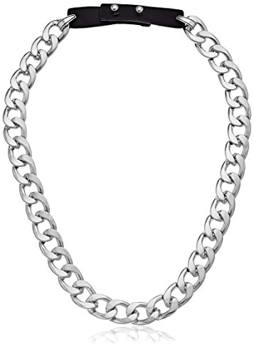 Steve Madden Rhodium and Black Curb Chain Leather Strap Necklace, 21