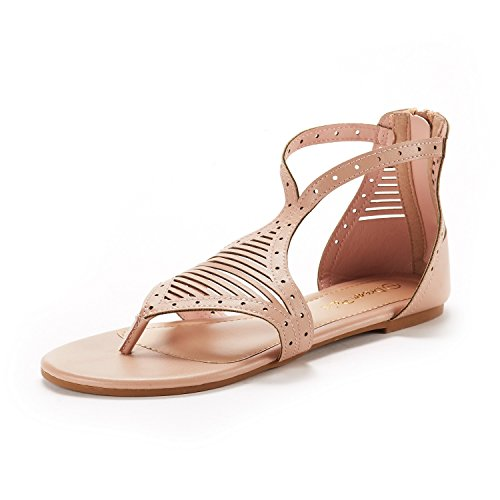(DREAM PAIRS Women's Nude/PU Gladiator Flat Sandals Size 8 M US)