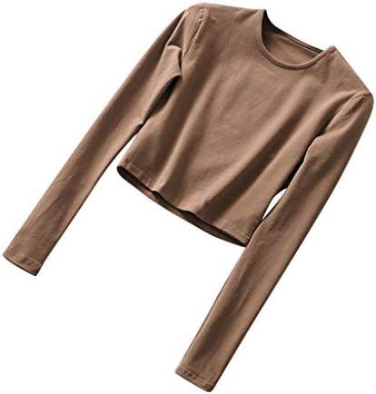 [해외]Women`s Crop Tops Long Sleeve T Shirt Round Neck Sexy Casual Pullover Tee Blouse / Women`s Crop Tops Long Sleeve T Shirt Round Neck Sexy Casual Pullover Tee Blouse (S, Coffee)