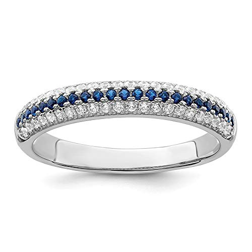 925 Sterling Silver Blue White Cubic Zirconia Cz Band Ring Size 7.00 Wedding Fancy Fine Jewelry For Women Gifts For Her