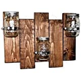 Renewed Decor Sydney Mason Jar Hanging Wall Sconces Rustic Home & Living, 20 Customizable Colors for Both Boards and Jars