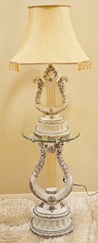 Desk / table lamp with Floor Table Stand Furniture Pedestal Post Column Interior Decor Carved Harp Sculpture