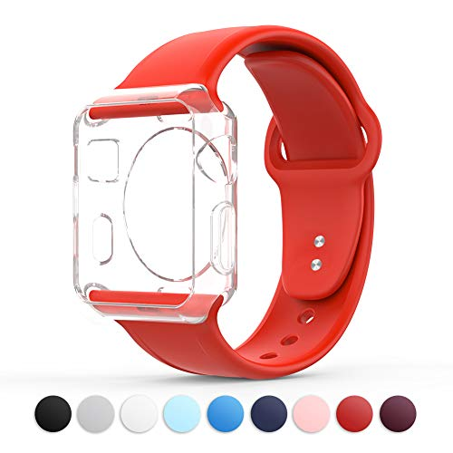 Towiph Compatible with Apple Watch Band 42mm 44mm Soft Silicone iwatch Band 44mm 42mm Series 3 4 2 1 Woman Man Sport Smartwatch Band Replacement Red with Free Apple Watch Case 42mm