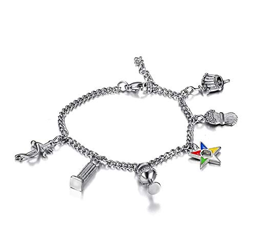 Bansriracha 316l Stainless Steel Silver Color OES Chain Bracelets Order of The Eastern Star Charms Beads Bracelets Ladies