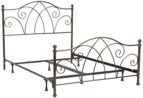 Fashion Bed Group Deland Complete Metal Bed and Steel Support Frame with Arched Rails and Finial Posts, Brown Sparkle Finish, Full - Arched Panel Bed Set