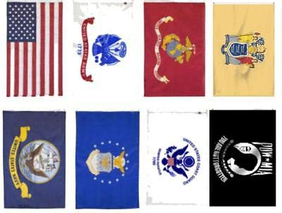 K's Novelties Wholesale Lot 3x5 USA + 5 Branches Military + Pow Mia + New Jersey Flag Set