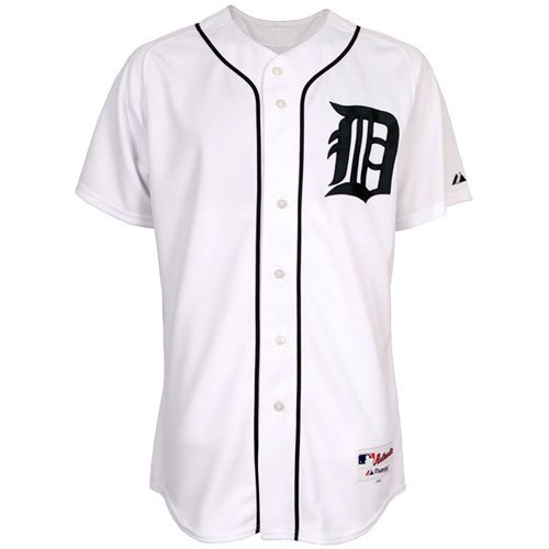 Detroit Tigers Authentic Home Jersey (MLB Men's Detroit Tigers Six Button Authentic Home Jersey (White, 40/Medium))