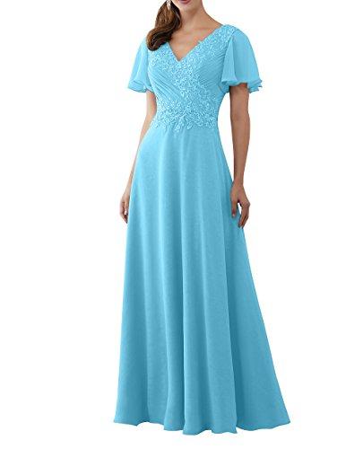 A La Brau Brautmutterkleider mia Promkleider Linie Spitze 2018 Blau Abschlussballkleider Abendkleider Langes A8A5qrw