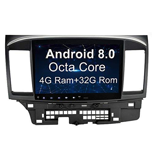SYGAV 10.2 Inch Android 8.0 Car Stereo Touch Screen GPS Sat Nav for 2014 2015 Mitsubishi Lancer EVO X with Rockford Fosgate Radio