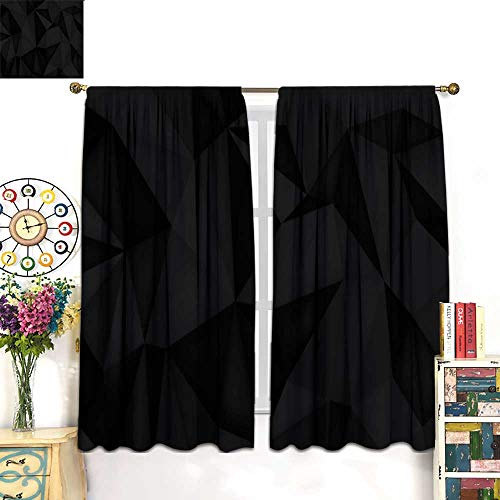 longbuyer Curtains for Living Room Low Polygon Shapes Black Background Dark Crystals Triangles Mosaic Creative Origami Wallpaper templates Vector Design Drapes Panels W63 x L72