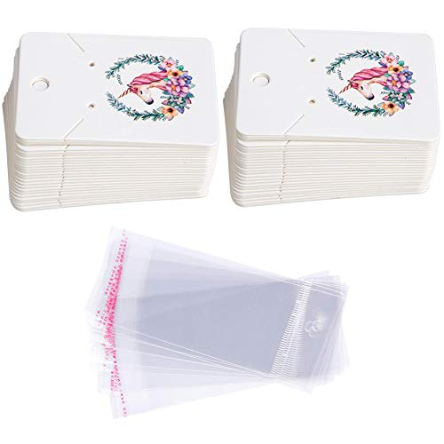 Earring Cards Set, 100 Pcs Paper Earring Display Cards with 100 Pcs Self-Seal Bags, Fashion Colorful Card Holder Organizer Tags DIY Handmade Packing Cards for Earring Stud Necklace (Unicorn)