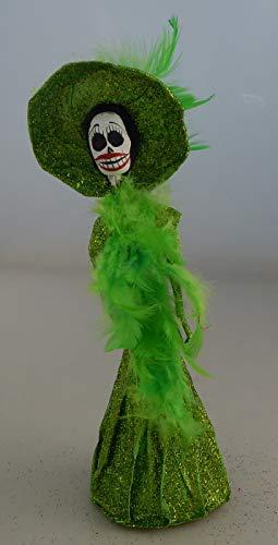 COLOR Y TRADICIÓN Mexican Catrina Doll Day of Dead Skeleton Paper Mache Dia de Los Muertos Skull Folk Art Halloween Decoration # 912 for $<!--$17.99-->