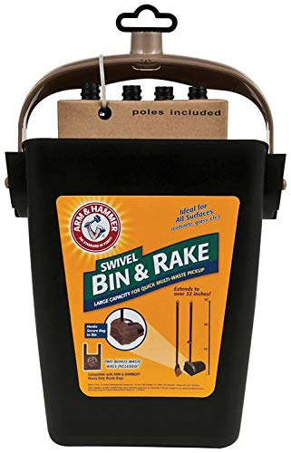 Arm & Hammer Swivel Bin & Rake Pet Waste Scoop, 2 Pack