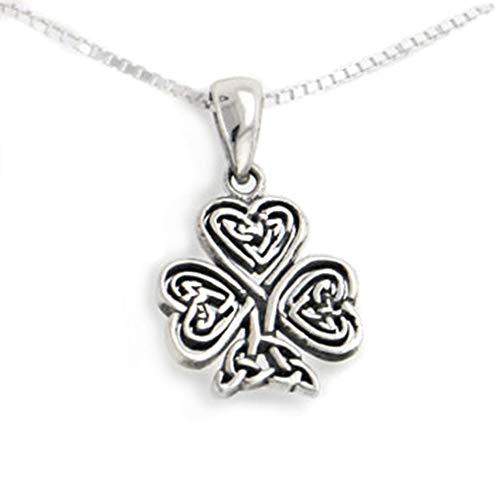 (Celtic Knot Irish Shamrock 3-Leaf Clover Sterling Silver Pendant with 18