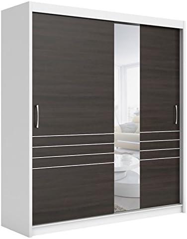 BlackRedWhite Elda Armario Dormitorio Blanco Oscuro Roble wengué 2 Puertas correderas Espejo: Amazon.es: Hogar