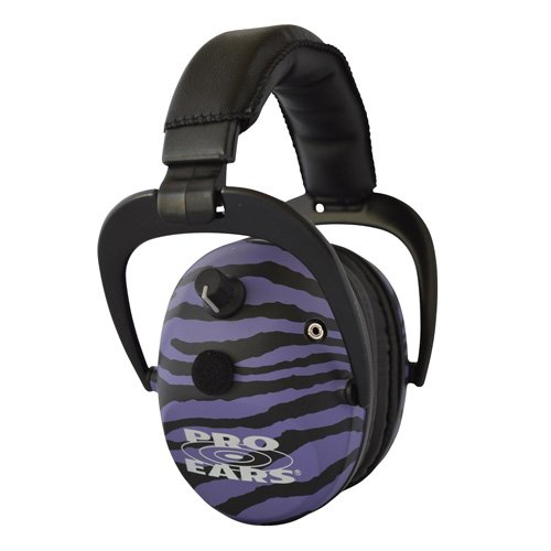 Pro Ears - Predator  Gold - Hearing Protection and Amplfication - NRR 26 - Contoured Ear Muffs - Purple Zebra by Pro Ears