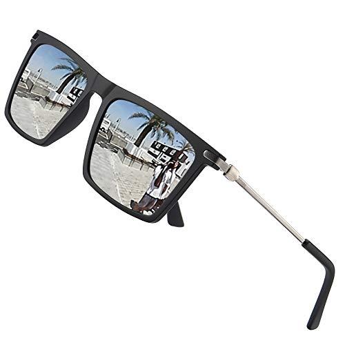 LEIMI Mens Polarized Sunglasses Vintage Rectangular Driving Fishing Sun Glasses for Men UV Protection 8823 (Silver, 55) (Best Sunglasses For Fishing 2019)