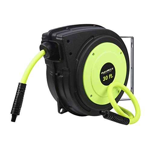Flexzilla Retractable Enclosed Plastic Air Hose Reel, 3/8 in. x 30 ft, Heavy Duty, Lightweight, Hybrid, ZillaGreen - L8230FZ