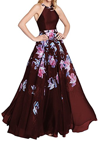Chiffon Floral Prom Dress - 6