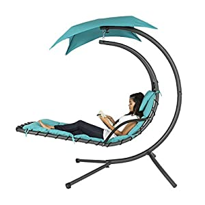 Best Choice Products Outdoor Hanging Curved Chaise Lounge Chair Swing for Backyard, Patio w/ Built-In Pillow, Removable Canopy, Stand – Teal