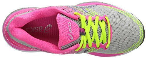 Asics Women's Gel-Nimbus 18 Running Shoes Grey (Silver/Titanium/Hot Pink 9397) 4SKuU