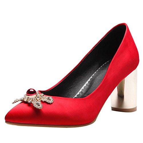 Carolbar Women's Fashion Elegant Rhinestones High Heel Court Shoes Red nh2zXpCz
