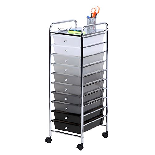 Honey-Can-Do CRT-05255 10 Drawer Shaded Storage cart, 37.8 in L x 15.94 in W x 6.5 in H (96 cm L x 40.5 cm W x 16.5 cm H), Multicolor/Gray/Black/White ()