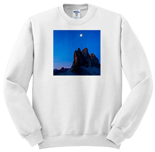 Price comparison product image 3dRose Danita Delimont - Mountains - The Moon Hovers Over Mountain Peaks Draped In Blue, Dolomites, Italy - Sweatshirts - Youth Sweatshirt XS(2-4) (SS_277539_9)