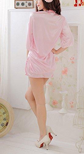 Paplan Mujer Satin Sling Lace Backless Nightdress Deep V Neck Half Sleeve Bathrobe Rosa