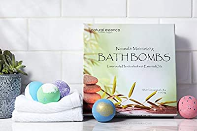 Bath Bombs Gift Set of 12 with FREE Bath Pillow - Extended Release Fizzies