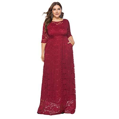 Encaje Riou Tamaño Gran Rojo Larga Camisa Manga Vestido Largo De Dress Elegante Casual Delgado Fiesta Suelto ZPZv6IS