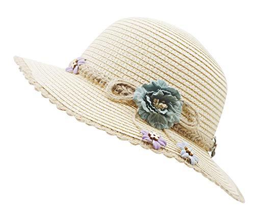 - Bienvenu Kid Girl Straw Wide Brim Hat Summer Beach Hat Sun Protection,Knit Belt Style_Beige