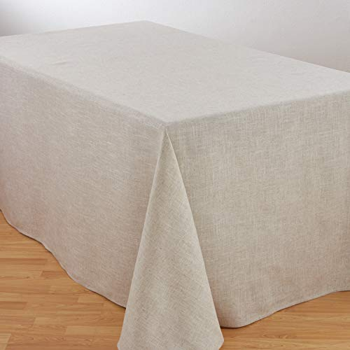 SARO LIFESTYLE Poly and Linen Blend Toscana Tablecloth with No Hemstitch Border, 90