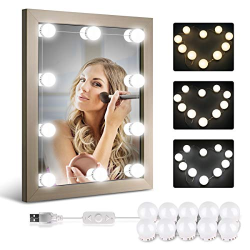 Homeasy Hollywood Style LED Vanity Mirror Lights Kit with 10 Dimmable Bulbs, Vanity LED Strip Light for Makeup Vanity Table Set in Dressing Room- Daylight White and Warm White (Not Include Mirror)