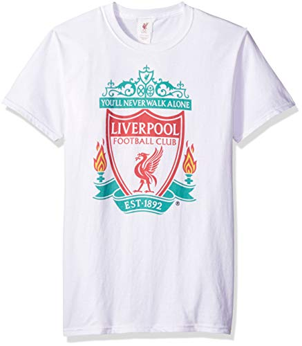 (Fifth Sun Official Liverpool FC Full Color Logo Men's Tee, White//as Solid, Large)