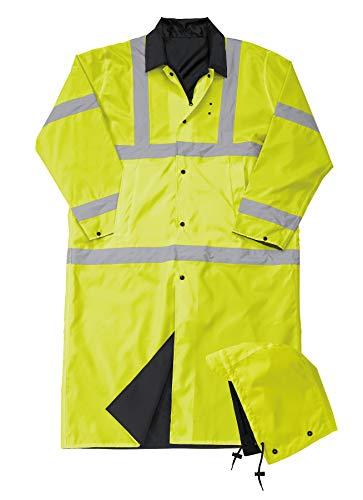 Liberty Uniform Class 3 ANSI Compliant Hi-Visibility Reversible Police Raincoat with Hood | Reflective Safety Jacket | Uniform Apparel ()