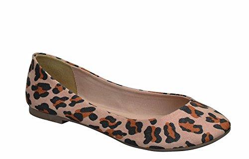 Breckelles Kvinna Spetsig Tå Halka På Balett Lägenheter Leopard Ts