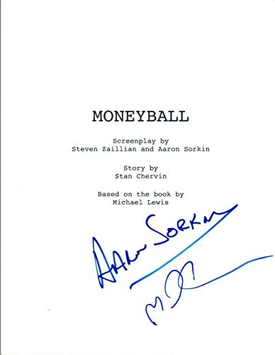 Aaron Sorkin & Michael Lewis Signed Autographed MONEYBALL Movie Script COA VD from Unknown