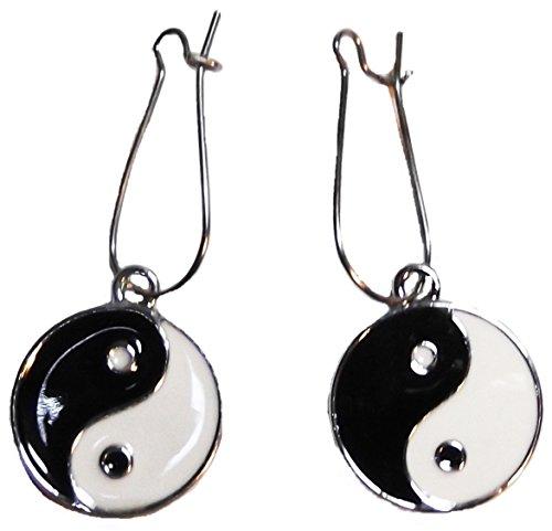 YIN-YANG Symbol Metal/Enamel Silvertone Earwire EARRINGS