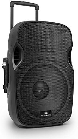 Malone PP-2915-BTR - aktive PA Box, PA-Anlage, PA-Lautsprecher, 900W Peak-Leistung, 15''-Subwoofer, USB- / SD- / MMC-Port, 2 x VHF-Funkmikrofon, schwarz
