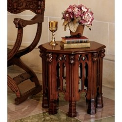(medieval end table gothic antique replica New hardwood)