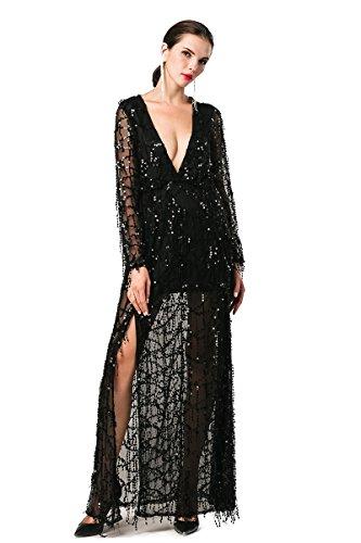 missord Damen Split Zwei Schwarz Maxi Langärmelige Polyester Pailletten Kleid V Ausschnitt FFqdpcTrxw