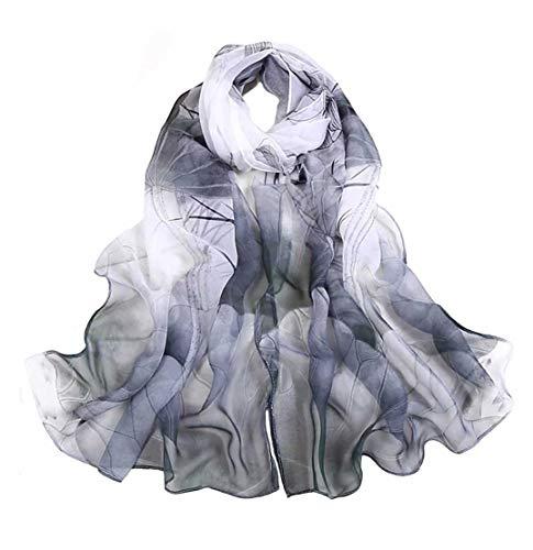 (Print Silk Feeling Scarf Fashion Scarves Lightweight Shawl Scarf Sunscreen Shawls for Womens ((White+Black)))
