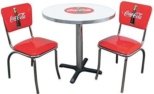 Vitro Seating Products CCTC Coca-Cola Dinette Furniture Set with 30'' Round Table and 2 Bullseye Chair Set, Red and White (Pack of 3) by Vitro Seating Products