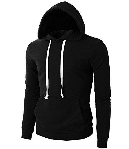 Qiangsoo Men's Light Weight Pullover Kangaroo Pocket Hoodie Long Sleeve Slim Fit Sweatshirt